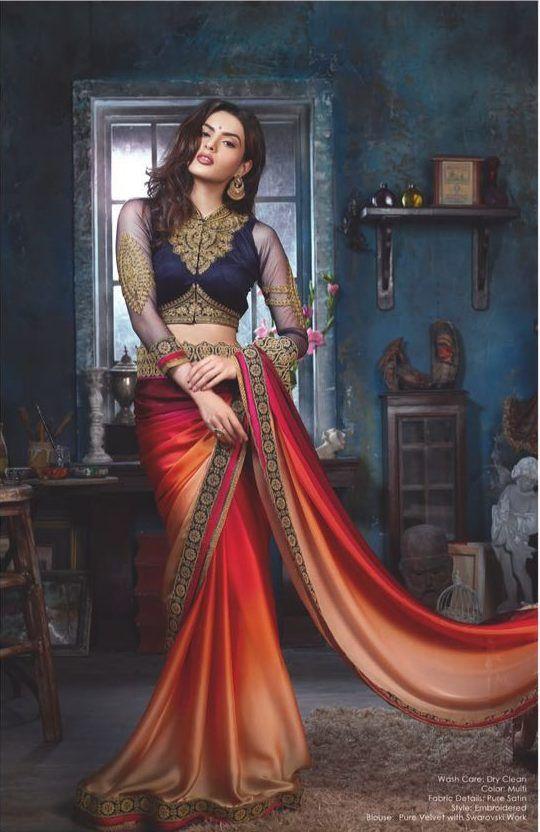Buy Satin Chiffon Saree 6 Pcs Set from manufacturer at best price, wholesaler in surat, delhi , mumbai, banglore, chennai