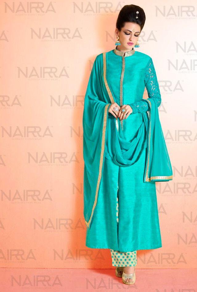 Blue designer suit with dupatta