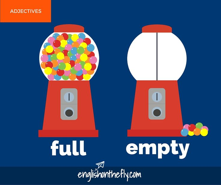 English vocabulary for ESL and EFL students. Full and Empty
