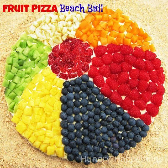FRUIT PIZZA Beach Ball - a fun summer dessert idea.  by HungryHappenings.com