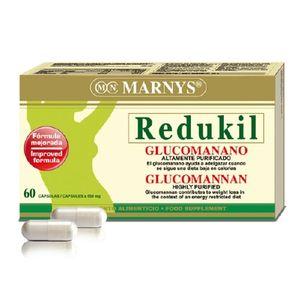 http://herbolariosur.com/producto/redukil-glucomano-60-capsulas/1465/ MARNYS® REDUKIL contiene glucomanano, que ayuda a adelgazar cuando se sigue una dieta baja en calorías.  El efecto beneficioso se obtiene con una ingesta diaria de 3 g de glucomanano en tres dosis de 1 g, junto con abundante cantidad de agua, antes de las comidas, cuando se sigue una dieta baja en calorías.