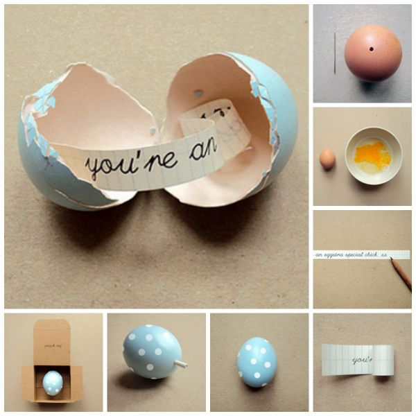 Send a personalized message to your loved one inside an egg!! You can send a message to your husband to say how much you love him or you kids to announce a vacation or maybe you BFF to wish him/her for her birthday. Click here for step by step tutorial http://www.ohcrafts.net/gifts-message-inside-an-egg.php