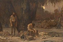Burke and Wills expedition -  John Longstaff, Arrival of Burke, Wills and King at the deserted camp at Cooper's Creek, Sunday evening, 21 April 1861, oil on canvas, 1907, National Gallery of Victoria