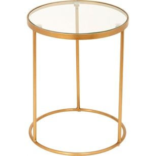 Tafel Rond Glas Smal, Goud, medium