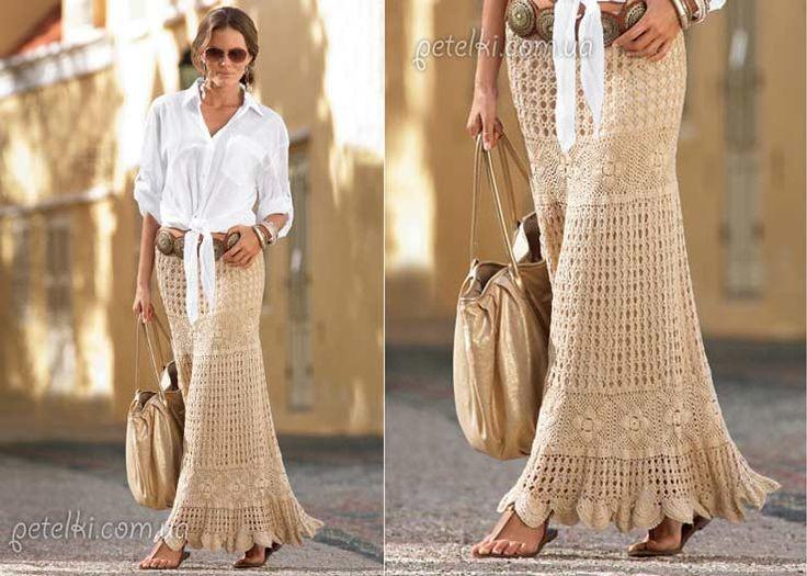 Patron Crochet Falda Maxi   Vamos 3 faldas maxi una ya la había traido con patrón es con lana má...