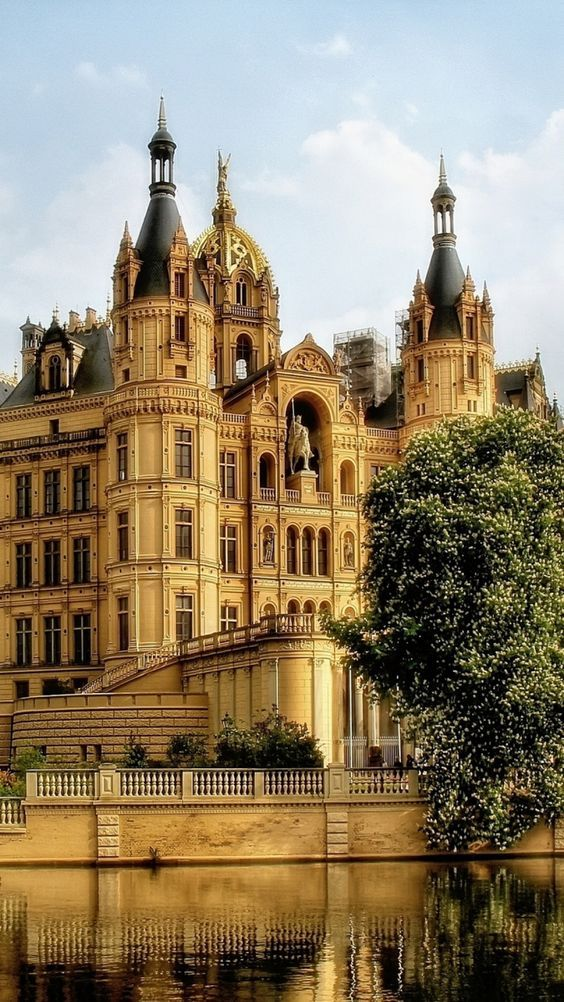 The Schwerin castle in the city of Schwerin, the capital of Mecklenburg-Vorpommern state, Germany. It is situated on an island in the city's main lake, the Schweriner See.