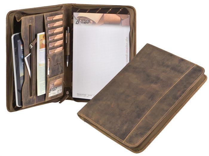 Schreibmappe Leder A4 braun Antik mit Reißverschluss