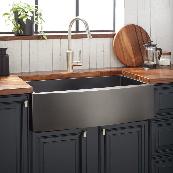 32 Atlas Stainless Steel Undermount Kitchen Sink Gunmetal Black Kitchen Sinks Kitchen Stainless Steel Farmhouse Sink Farmhouse Sink Kitchen