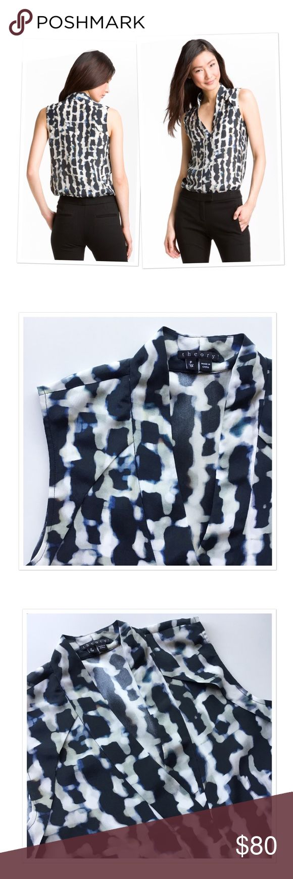 """Theory 'Moha' abstract clouds silk top Blurred abstract print. Pull on styling. Structural folds define the neckline and side seams. 100% silk. Worn once and in a great condition. Pit to pit: 17"""", length: 25"""". Theory Tops"""