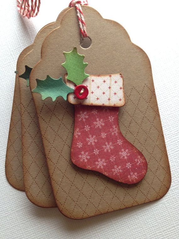 Christmas tags .. Handmade vintage style stockings shabby chic aged distressed inked on Etsy, $5.95