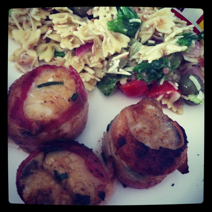 Grilled Bourbon & maple glazed bacon-wrapped scallops with Caesar ...