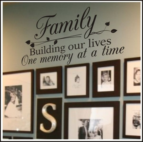 Family Wall  Quote For Homes -- I've been admiring these wall quotes for awhile. Now, I really want to use some in our new home!  I love the idea of using this one with a display of family photos!