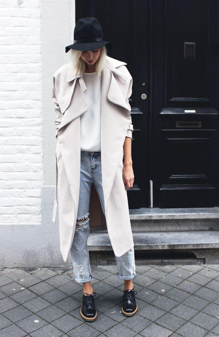 trench coat and heels