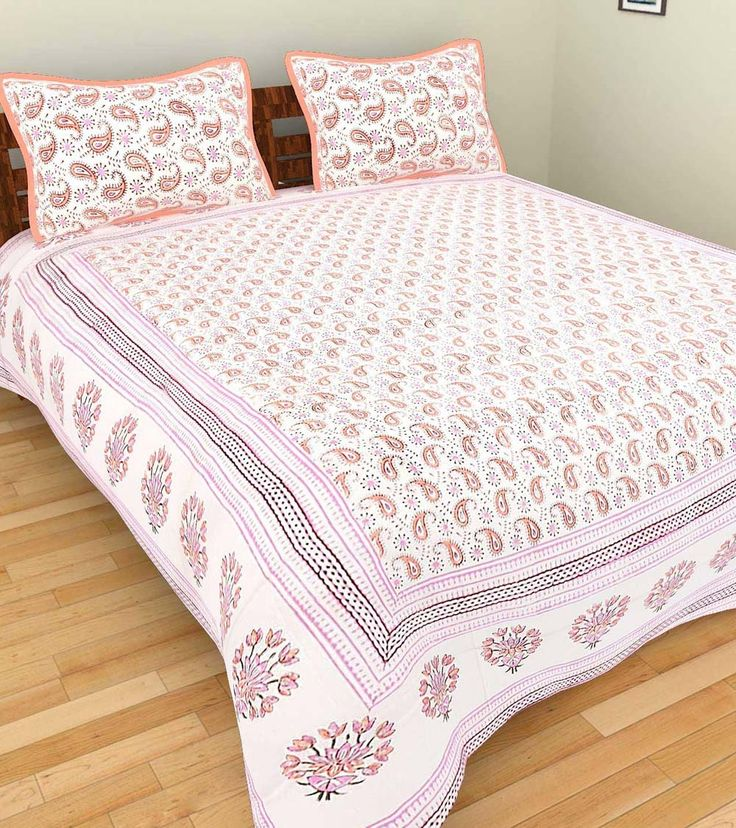 Pink Hand Block Printed Cotton Double Bed Linen With Two Pillow Covers #indianroots #homedecor #bedlinen #pillowcover #cotton #blockprint #printed