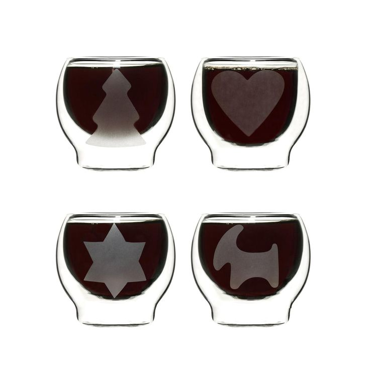 Sagaform Set of 4 Twin-Walled Thermal Glass Mulled Wine Glasses