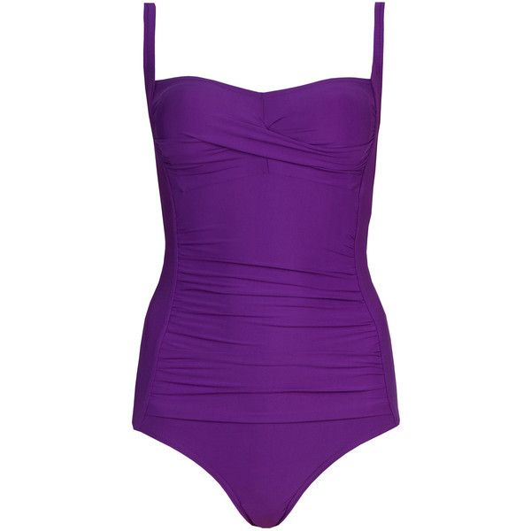 M&S Collection Secret Slimming Longer Length Twisted Front Swimsuit ($45) ❤ liked on Polyvore featuring swimwear, one-piece swimsuits, purple, swimsuit swimwear, purple one piece swimsuit, slimming bathing suits, ruched one piece swimsuit and padded swimsuit