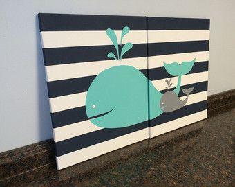 guardería náutica pared decoración bebé niño por JessieAnnCreations
