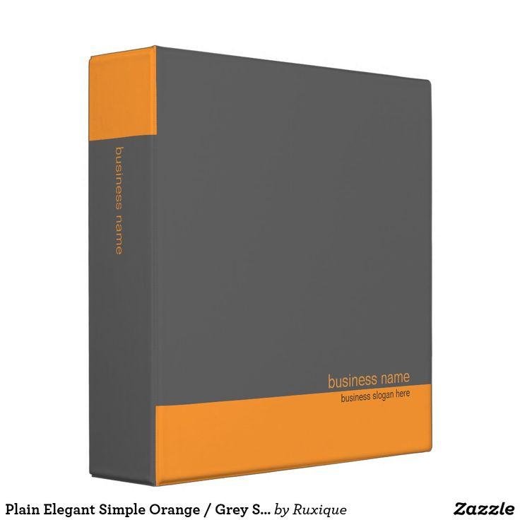 Plain Elegant Simple Orange / Grey Stripe Binder