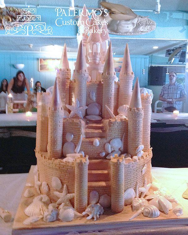 Fantasy Beach Castle Fondant Engagement Cake