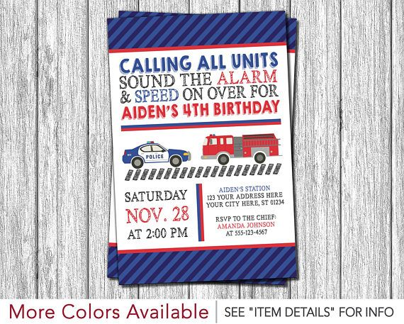 Police and Fire Birthday Invitation | Police Car and Fire Truck Invitation | Personalized and Printable by PuggyPrints