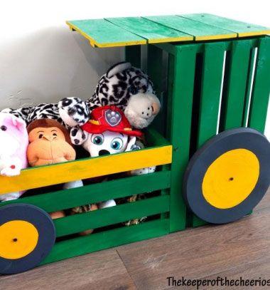 DIY Tractor wooden crate toy box - fun kids room decor // Traktor alakú játéktároló faládákból - kreatív gyerekszoba dekoráció // Mindy - craft tutorial collection // #crafts #DIY #craftTutorial #tutorial #DIYFurniture