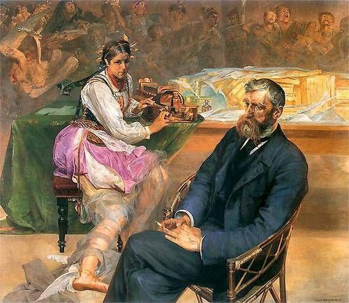 Jacek Malczewski (Polish, 1854-1929), 'Portrait of Adam Asnyk with a Muse', 1895-1897.