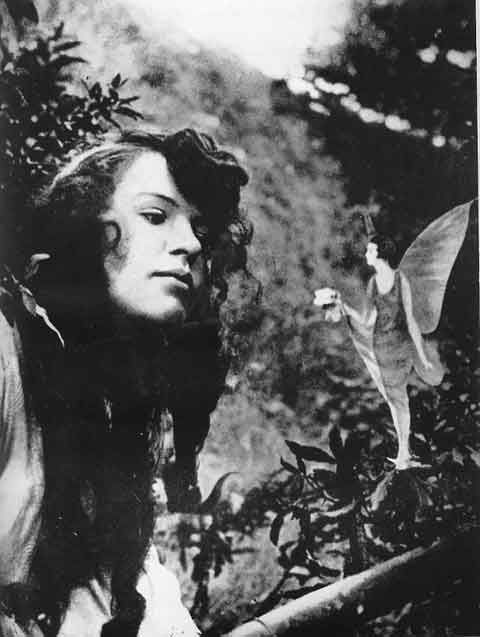 Cottingley fairy hoax . They made a movie about it. The 2 girls mother believed in fairies. She was sick. The girls drew  cut out fairies. Cameras were NEW. Photo published. FAME!! Met Houdini __ Area was inundated with Press  crowds. (meanwhile Real fairies had to leave area / Then came to the girls room, so they believe too - even though they began to cheer up mum.