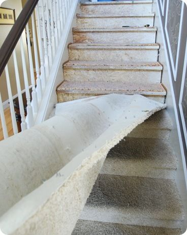 So long carpet - Stairs Makeover - I want to do this soooo bad!  Wood steps and new carpet in the living room!  Someday!