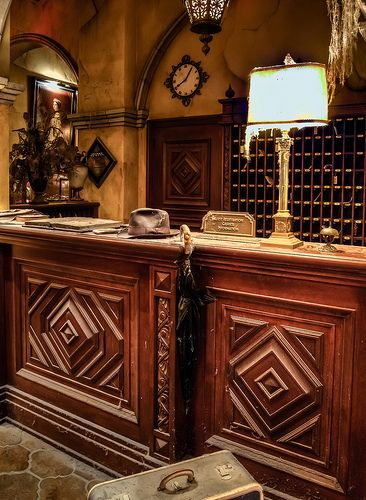 Tower of Terror Front Desk - Disneyland  The Tower of Terror attraction drips with amazing detail.