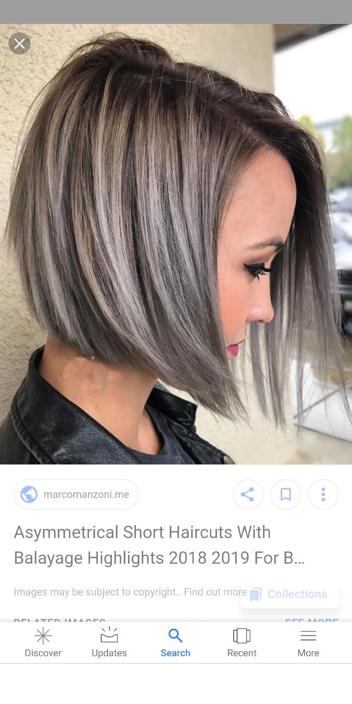 Triangle One Length Above The Shoulder With Triangular Layers Avedaibw Hair Styles Gray Hair Highlights Brown Hair With Silver Highlights