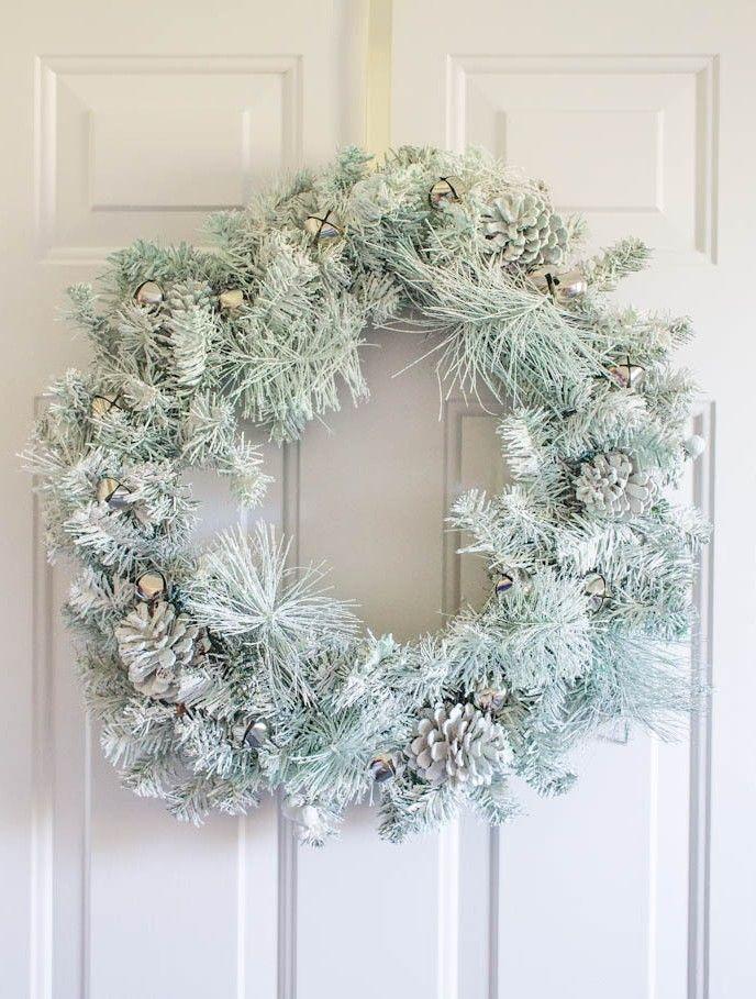 update your tired wreath with: -Krylon Colormax spray paint, in Sea Glass -Krylon Glitter Blast spray, in diamond dust -drywall texture spray (the secret ingredient) -clear acrylic sealer