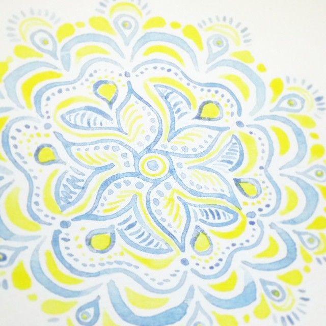 Blue and yellow mandala #zen #peaceandlove #watercolour @rebeccafeinerdesign