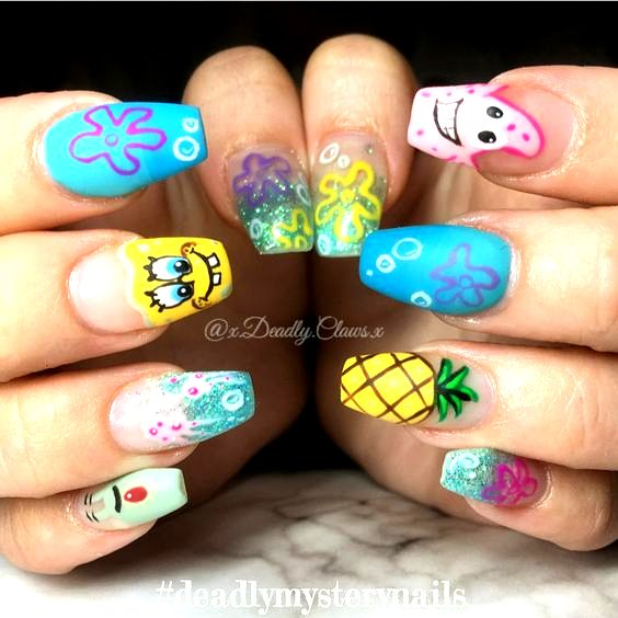 Nail art sponge bob nails gel nails acrylic nails coffin ...