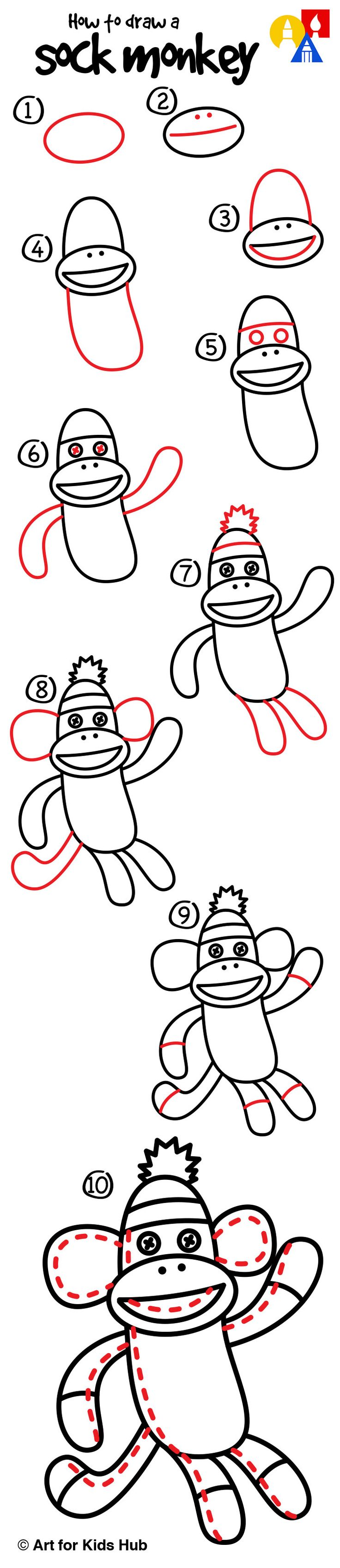 How To Draw A Sock Monkey - Art For Kids Hub -