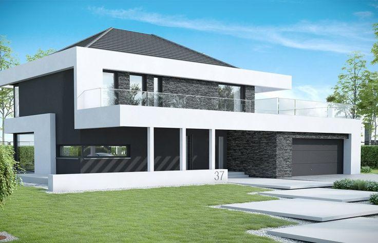 To projekt piętrowego domu o nowoczesnej i wyrazistej stylistyce. Prostą, spójną bryłę urozmaica z zewnątrz okalające dom belkowanie oraz efektowna elewacja. Połączenie białego i grafitowego tynku z naturalnym kamieniem elewacyjnym nadaje całości wyjątkowej elegancji.