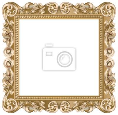 Papier peint cadre baroque carré doré - cadre • PIXERS.fr
