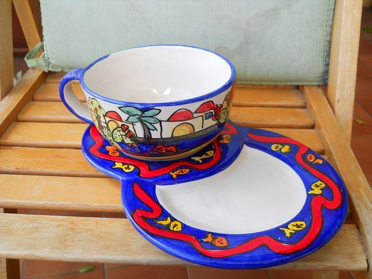ceramiche e...dintorni: Tazza jumbo su vassoio colazione