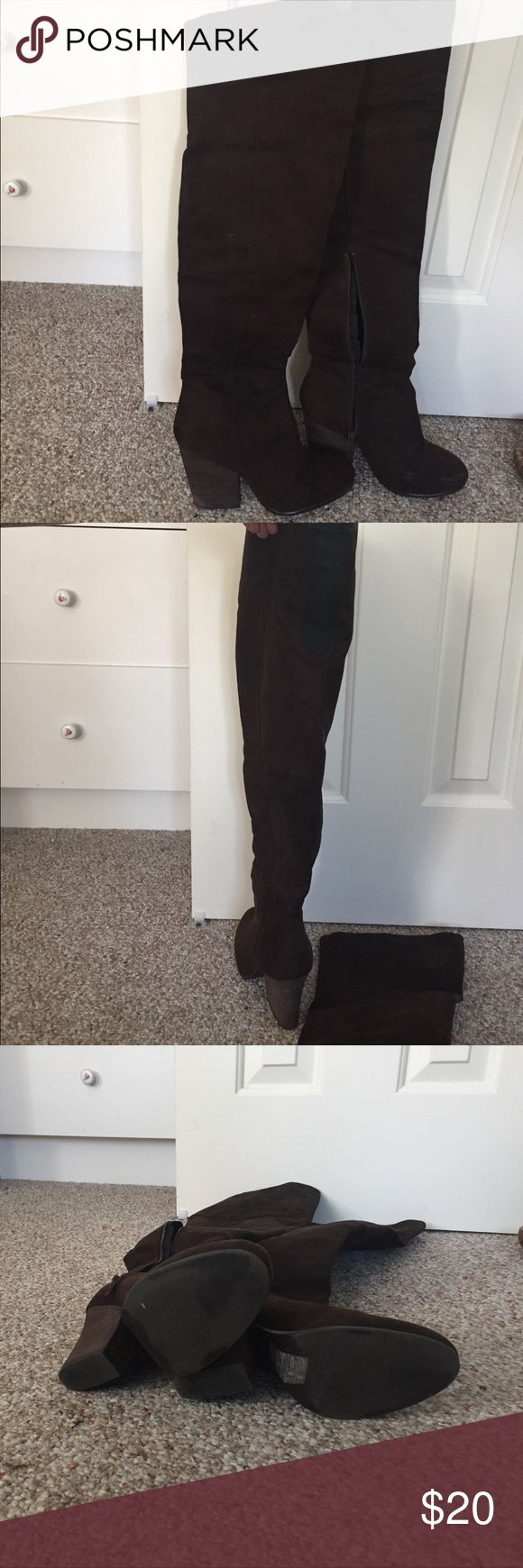 H&M THIGH HIGH BOOTS - only worn once! Deep brown thigh high boots. Elastic band on top to stretch to calf size. Heel 1 inch with striped detail. Very comfy! Only worn once! H&M Shoes Over the Knee Boots