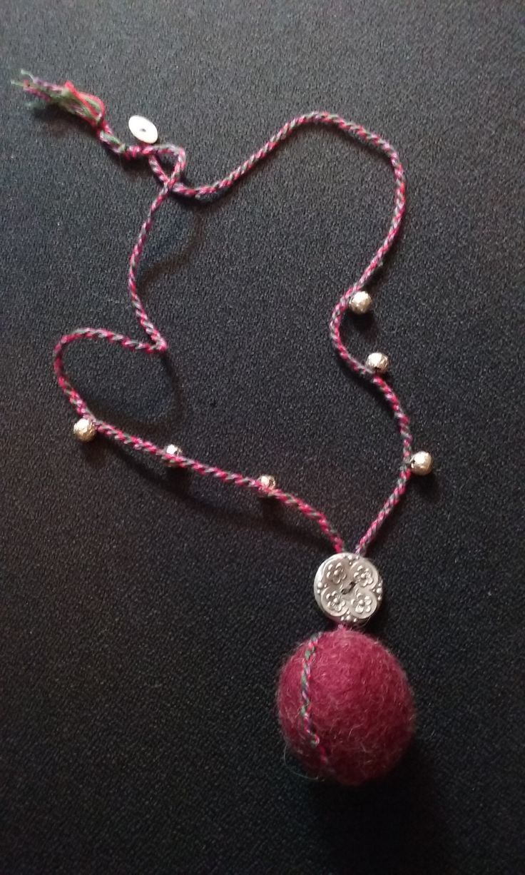 Nacklace with felted bead and silver button, recycle materials Fiber bijoux by Ylva Sillén