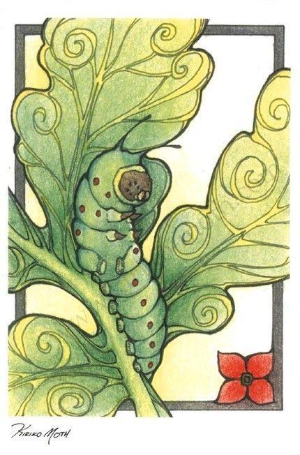 Art Nouveau Caterpillar 4x6 Postcard Print by KiriMothDesigns, $6.00