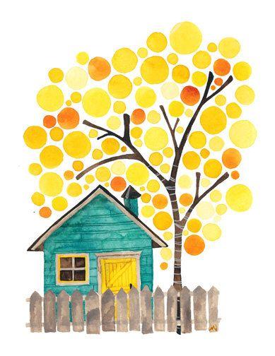 Sous le bouleau jaune Art Print Reproduction aquarelle paysage d'automne oeuvre