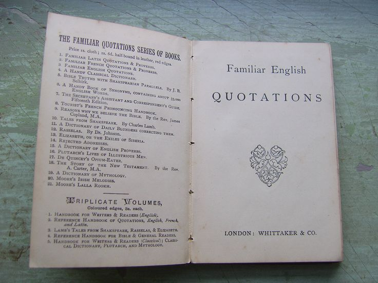 "Antique/Antiquarian Victorian Book - ""Familiar English Quotations"" - London 1895. by TownshendsEmporium on Etsy"