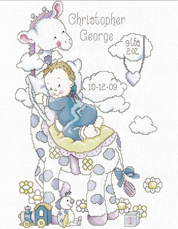 "This counted cross stitch birth sampler from Design Works features a baby resting on the back of a cute giraffe.   The kit contains:      14 count white Aida fabric     chart, instructions,     needle and threads     Alphabet included   Finished Size: 28 x 35.5 cm  (11"" x 14"")"