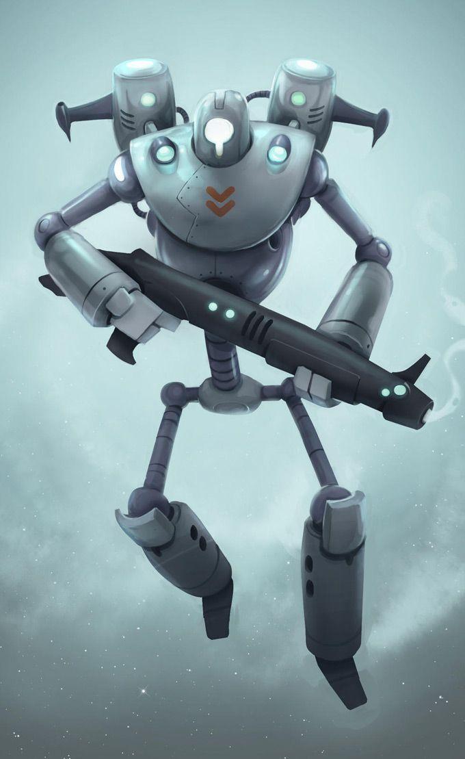 Cartoon Characters As Robots : Robot cartoon character d art