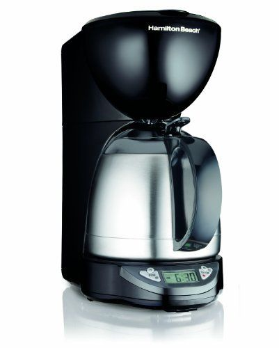 Hamilton Beach Programmable Thermal 10 Cup Coffeemaker by Koschuta. $55.00. Thermal insulated carafe keeps coffee hot and fresh-tasting for hours. Drip-free pouring. Uses 8-12 cup basket style coffee filters. Programmable timer lets you wake up to freshly brewed coffee. No-twist lid for instant serving - just press & pour. Programmable Thermal 10 Cup Coffeemaker