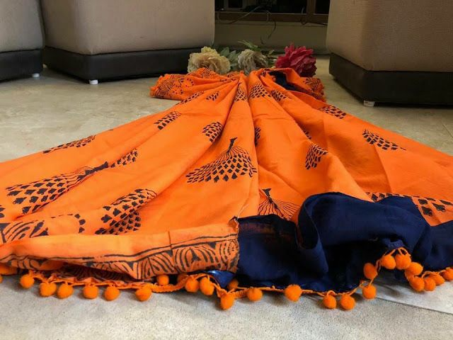 Latest Cotton Pom Pom Sarees 12