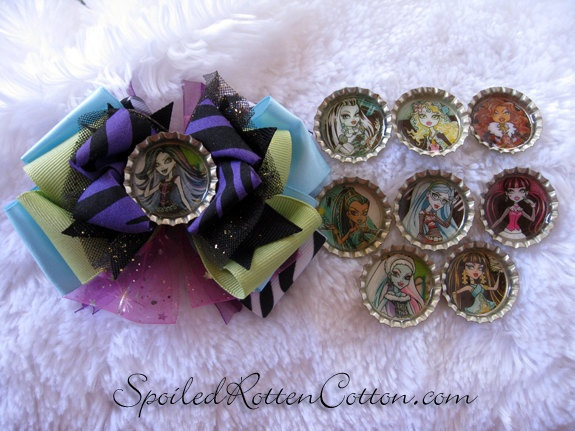 Monster High Bottle Cap Bow  With Changers by SpoiledRottenCotton, $15.00