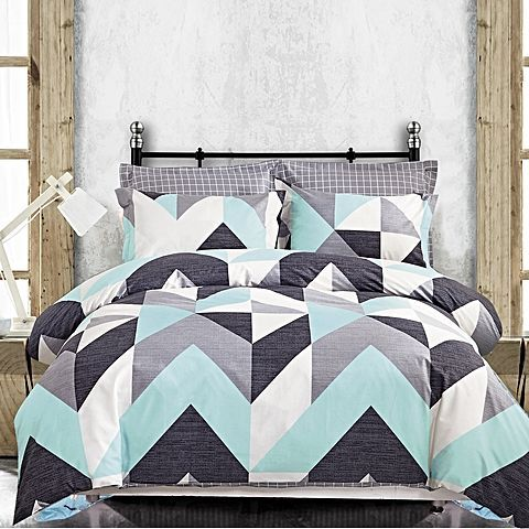 Trigger a modern edge in your bedroom with the graphic print on the cotton Coastline Quilt Cover Set from Odyssey Living.