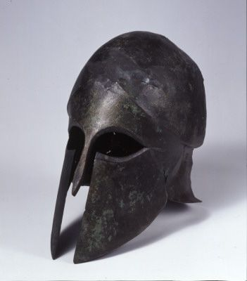 fishstickmonkey:Corinthian helmetbronzeGreekEarly Archaic periodcirca 550 BCCycladic Art Museum