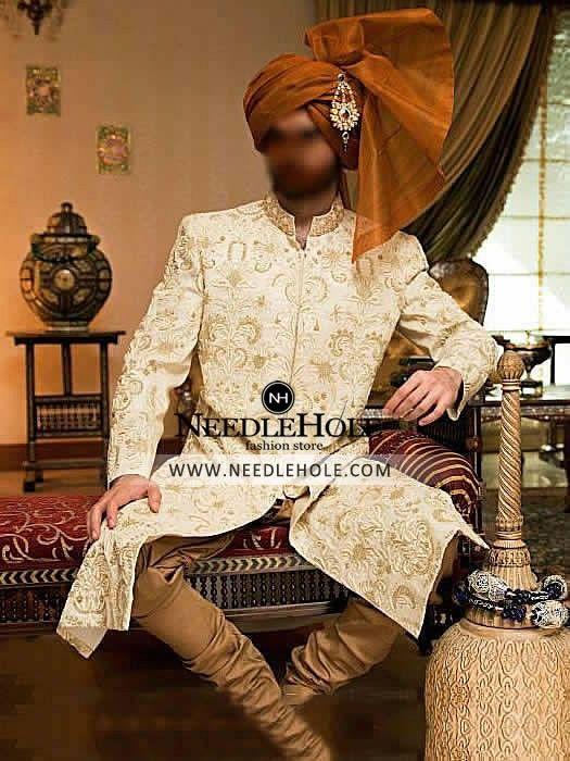 Offwhite raw silk sherwani for groom in Charlotte USA Custom designer wedding sherwani attire for groomDiscover sherwani designs by Manish Malhotra